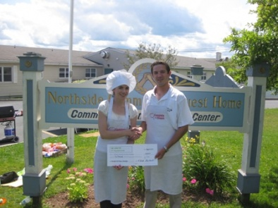 Fundraising Coordinator, Lisa MacNeil with Wade Bartlett of Lick-a-Treat Ltd. who presented a cheque for 5000.00 to name a room in Cara House in memory of his grandparents, Tommy & Yvette Bartlett.  August 13, 2010
