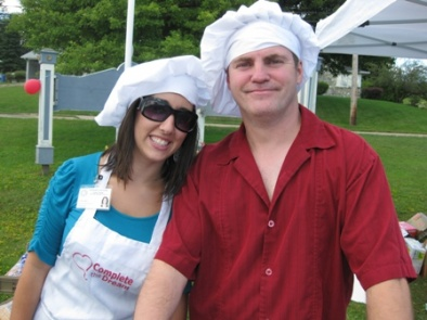 "Guest Home Staff members, Krista Rose and Sandy MacKinnon volunteer as ""Complete the Dream"" chefs for the afternoon! August 13, 2010"